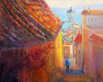 Mediterranean Hill Town, Spanish Village, Original Oil Painting,  Large Painting, Spain, Modern Painting, Large Painting Impressionist Style