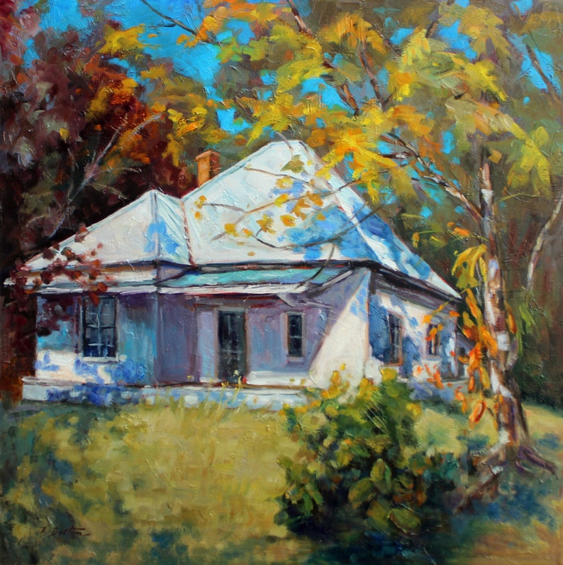 Art Print Southern Art Country Home in Autumn Digital Art Fine Art Reproduction of Original Oil Painting by Ingrid Bolton Free Shipping