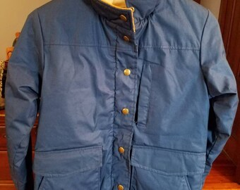 7de02cbbbfe Vintage L.L. Bean Freeport Maine Winter Coat 1970s 1980s Winter Outerwear  Blue Zipper Snaps Blue Corduroy Collar Made in the USA Size Small