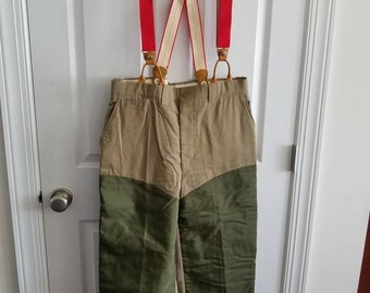 51f941ee716b0 Vintage L.L. Bean Outdoors Olive Green and Canvas Pants Flannel Lined Size  38 with Red Suspenders