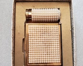 Vintatge Gold Tone Faux Pearls By Revelle Compact and Loose Make Up Lipstick Case 1950s Original Box Never Used