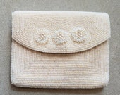 Vintage La Regale Beaded Envelope Products Japan Small Purse Seed Beads Faux Pearls Flowers 1950s