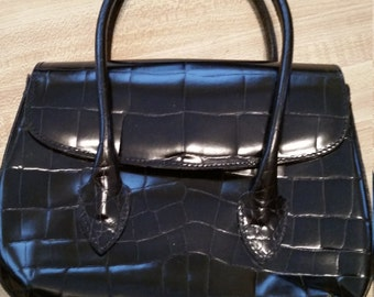 Vintage Joan and David Black Leather Faux Alligator Handles Small Purse Feet Made in Italy