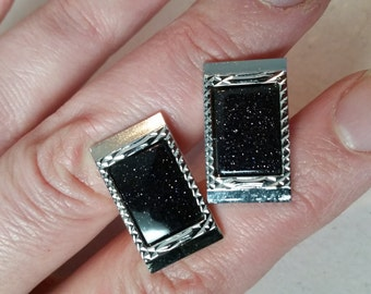 Vintage Dante Cufflinks Cuff Links 1960s Silver Tone Metal and Navy Blue with Sparkles Rectangluar Accessory French Cuffs