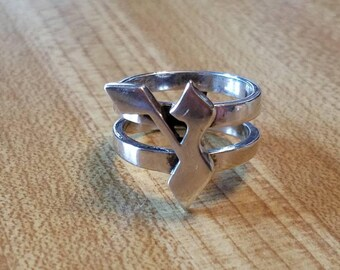 Vintage Hand Made Sterling Silver Hebrew Letter Ayin Ring Size 6.75 925