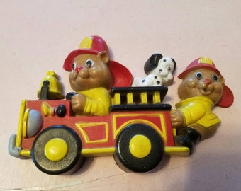 SALE Vintage Wall Hanging Fire Truck Fire Bears Dalmatian 1990 Plastic Boys Room Decor Made in the USA