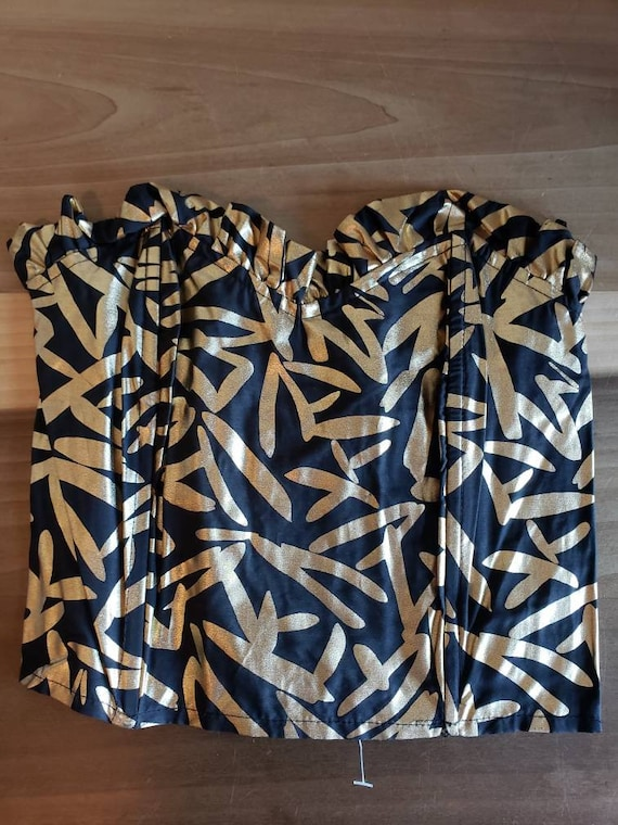 Vintage Coppernob Black and Gold Bustier Size Smal