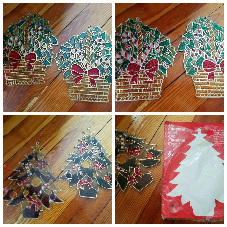 Vintage Crystalline Lot of 4 Faux Sun Catcher Red and White Christmas Tree and Candy Canes with Holly Window Ornaments 1980s