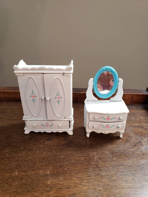 SALE Vintage Lot of 2 Pieces Mattel Doll House Bedroom Furniture 1980s  Metal and Plastic Bedroom Set Dresser Vanity and Wardrobe The Littles