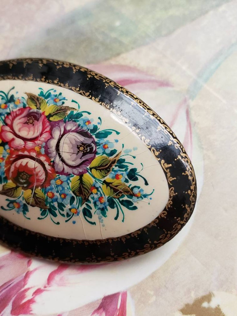 SALE Vintage Hand Painted Russian Pin or Brooch Flowers Oval Black Gold Trim Hand Painted Wooden Crazing
