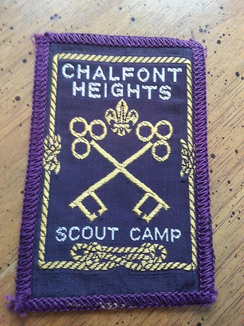 Vintage Calefont Heights Scout Camp Sew On Patch Purple Yellow Keys 1980s Skeleton Keys Fleur De Lis