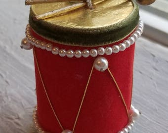 Vintage Red Flocked Gold Green Trim Drum Ornament 1950s Made in Japan Faux Pearls