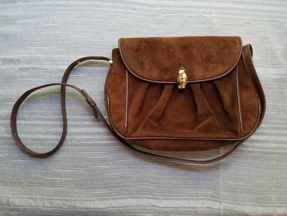 Vintage gucci brown suede and leather purse made in italy etsy jpg 570x428  Gucci purse made 03bd02bac0a70
