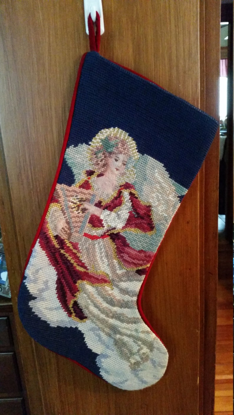 Vintage Dead Stock Embroidered Yuletide Christmas Stocking Red Velvet Angel Playing a Harp Hand Made Hand Embroidred