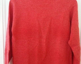 Vintage Long Sleeve Sweater Tricots D'Athenes Cashmirette Made in Greece Hot Pink Coral 1960s Turtle Neck