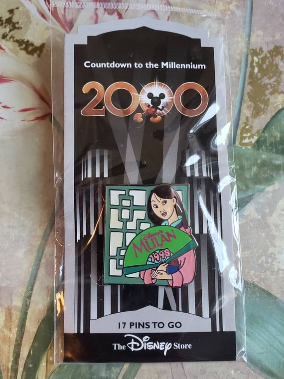Large Countdown to the Millennium Colorful Enamel and Silver Tone Metal Sleeping Beauty Lapel Pin