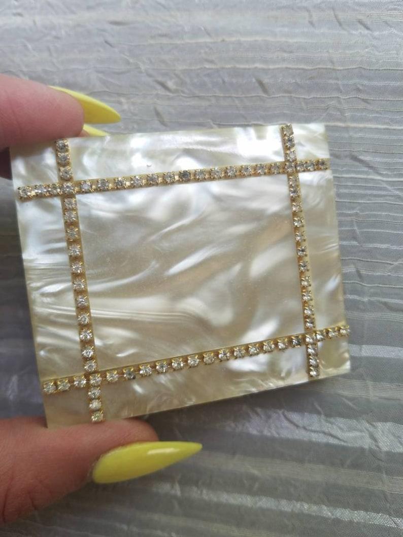 Vintatge S.J.C 5th Avenue Gold Tone Metal Textile Rhinestone Trim Compact Loose Make Up 1950s