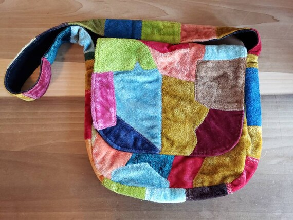 Vintage Velvet Patchwork Shoulder Bag Purse 1960s