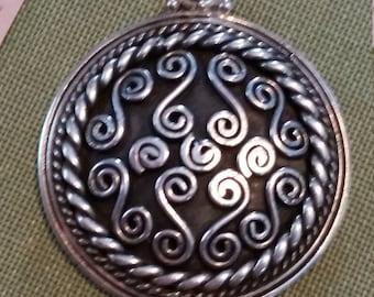 Vintage Sterling Silver Spiral Pendant 925