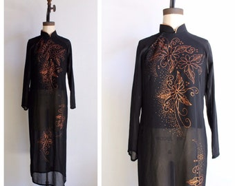fc9f15c9c Vintage Black Sheer Ao Dai Tunic Dress with Glittery Copper Floral Design