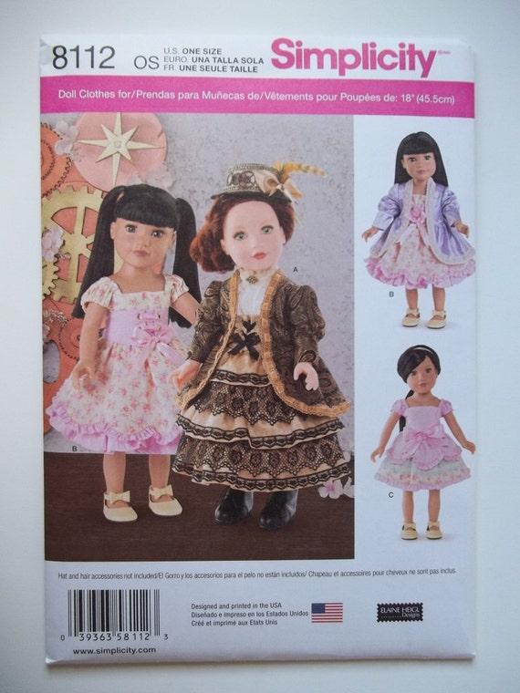 Simplicity Pattern 8112 American Girl Dress Pattern | Etsy