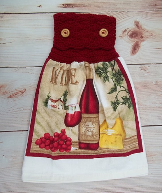 Hanging Kitchen Towel Wine Lover Decor Crochet Top Towel Kitchen Decor Cotton Dish Towel Kitchen Accessory Housewarming Gift Tuscany