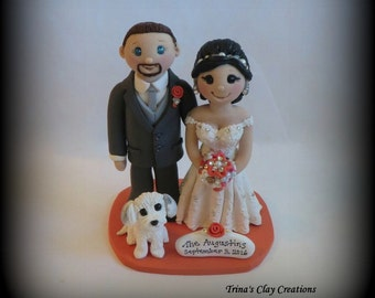 Wedding Cake Topper, Custom Wedding Topper, Bride and Groom, One Pet, Anniversary Cake Topper, Personalized, Polymer Clay, Keepsake