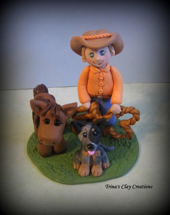 Cowboy Pony Dog Birthday Cake Topper Sculpture Polymer