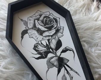 Original Pen and Ink Roses Coffin