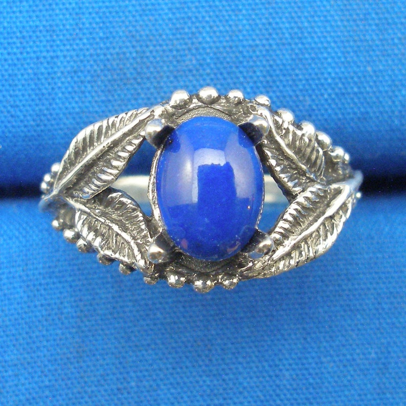 Lapis Lazuli Leaf ring Hand Crafted Recycled Sterling Silver December birthstone European Beech Tree Leaves earth mined in Afghanistan