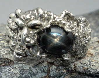 Black Star Diopside Dragon Ring, Hand Crafted Recycled Sterling Silver, March birthstone, handmade Chinese dragon ring, Pisces
