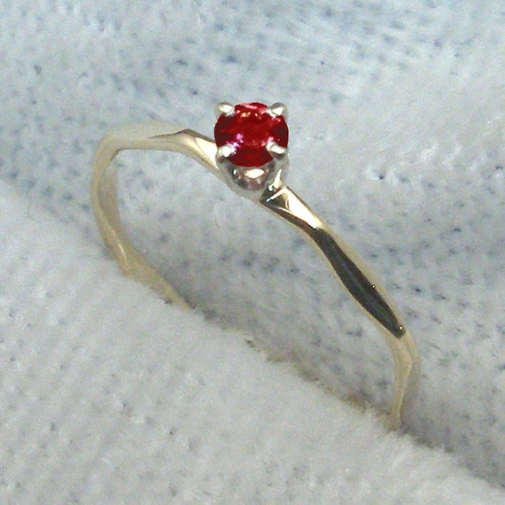 Size 00 14k Gold Baby Keepsake Ring, Garnet, January Birthstone, yellow,  white, or rose gold, hand crafted, handmade 14 K