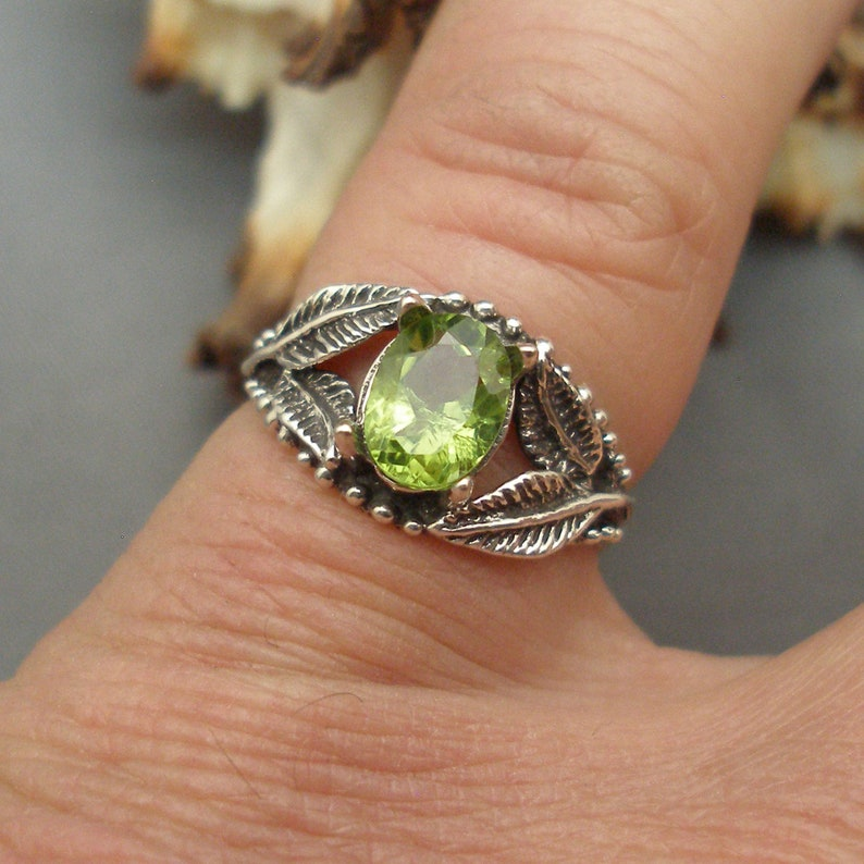 Recycled Sterling Silver August birthstone Peridot Leaf Ring European Beech Tree leaves earth mined in Pakistan
