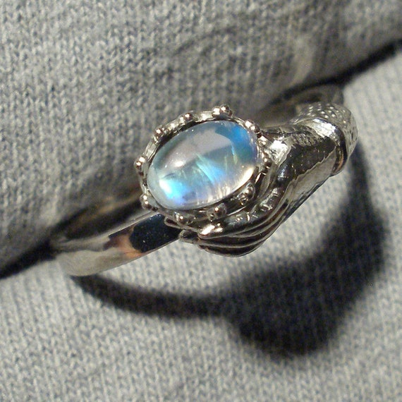 Recycled sterling silver June birthstone Red Moonstone Art Nouveau Style Ladies Gloved Hand ring Peach Salmon Cancer Libra Scorpio