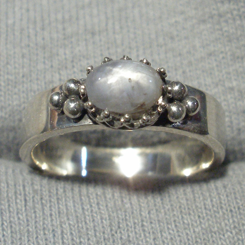 original design recycled sterling Natural Silver Gray Star Sapphire Ring unheated untreated Burma Myanmar September birthstone