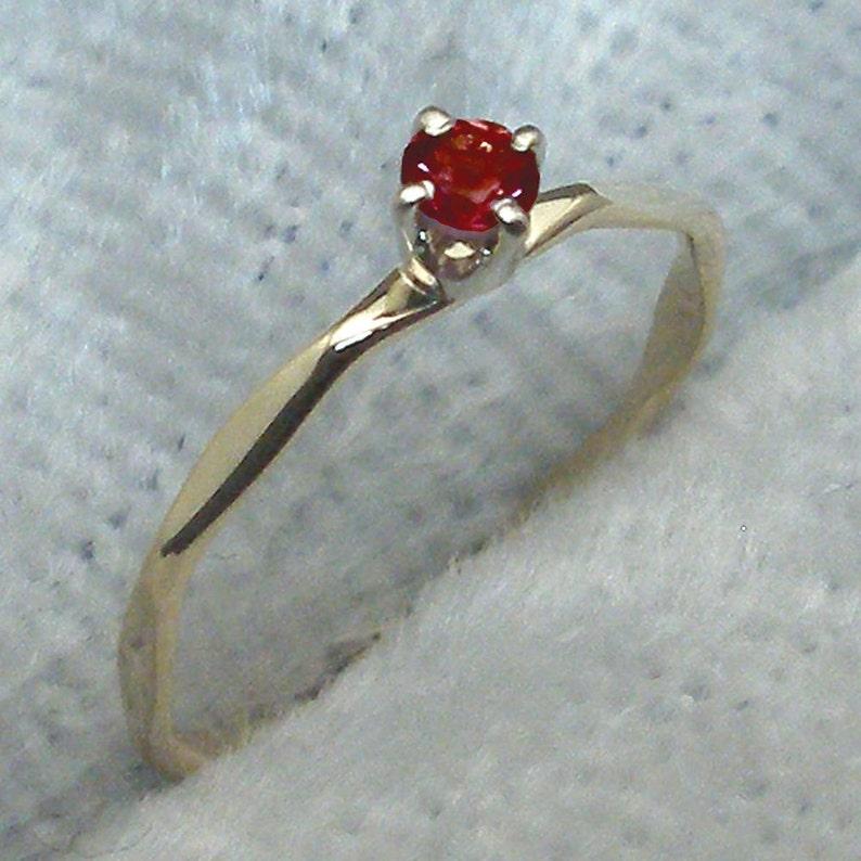 white Garnet 14k Gold Baby Keepsake Ring size 0 or 1 handmade hammered 14 K yellow or rose gold January Birthstone