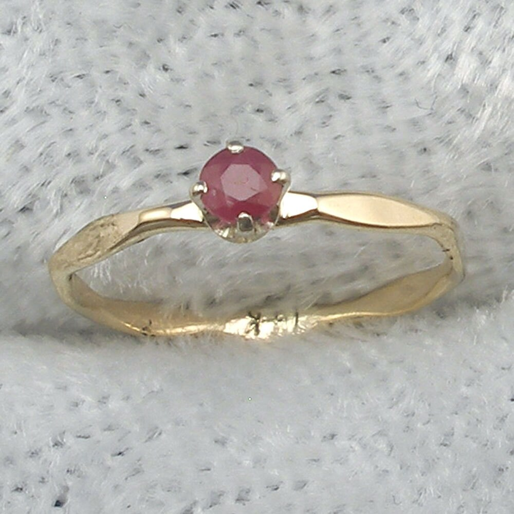 Ruby Baby Keepsake Ring size 0 or 1, July Birthstone, hand crafted 14k  Yellow, White or Rose Gold, 14 K handmade hammered band