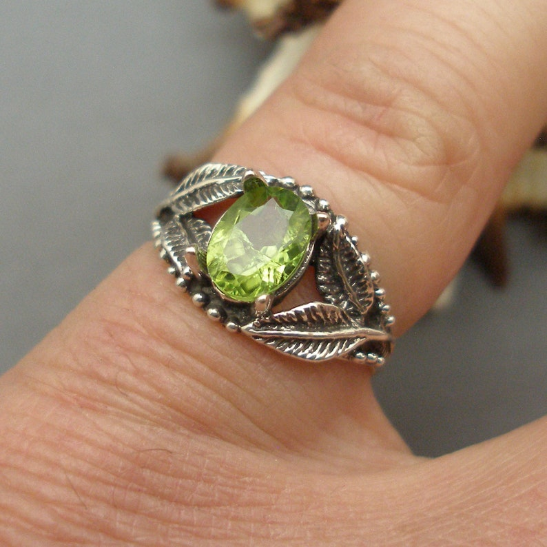 European Beech Tree leaves August birthstone earth mined in Pakistan Peridot Leaf Ring Recycled Sterling Silver
