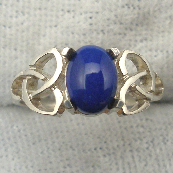 handmade Afghan Afghanistan Lapis Lapis Lazuli Celtic Triskel Ring hand crafted recycled sterling silver Celtic Knot ring
