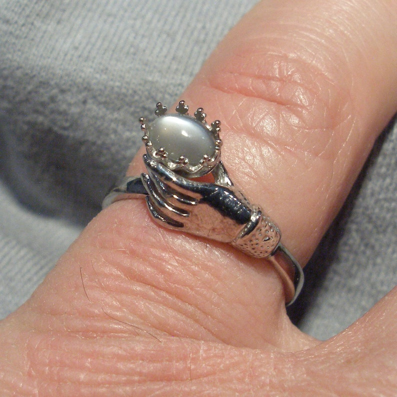 Recycled sterling silver June birthstone Cancer Libra Scorpio Black Gray Moonstone Art Nouveau Style Ladies Gloved Hand ring handmade