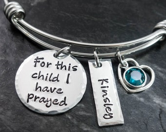 For this Child I have Prayed / Wire Bangle Bracelet / Charm Bracelet / Mom Bracelet / Mother Jewelry / Personalized Bracelet