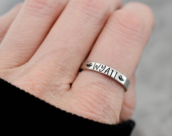 New Mom Ring Name Ring Custom Name Jewelry Handstamped Ring Personalized Gift Anniversary Ring Personalized Ring Pet Loss Gift