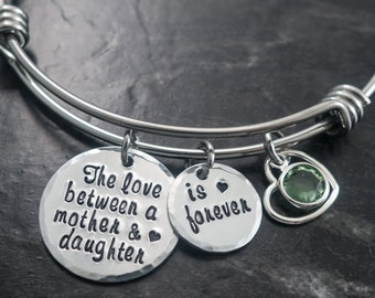 The Love Between a Mother and Daughter is Forever  / Wire Bangle / Mother Daughter Jewelry / Charm Bracelet