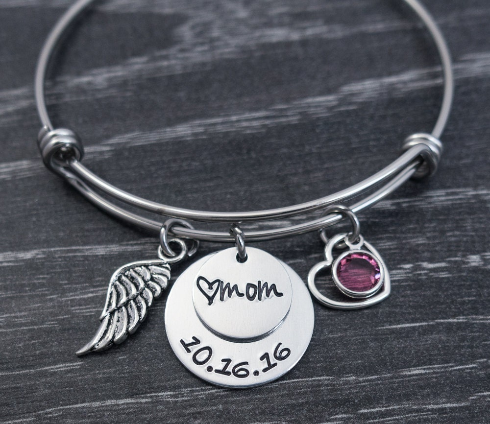 Wire Bangle Charm Bracelet: Charm Bracelet / Wire Bangle / In Loving Memory Bangle