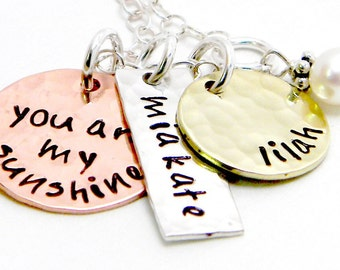 Personalized mixed metal hand stamped necklace  - You are My Sunshine