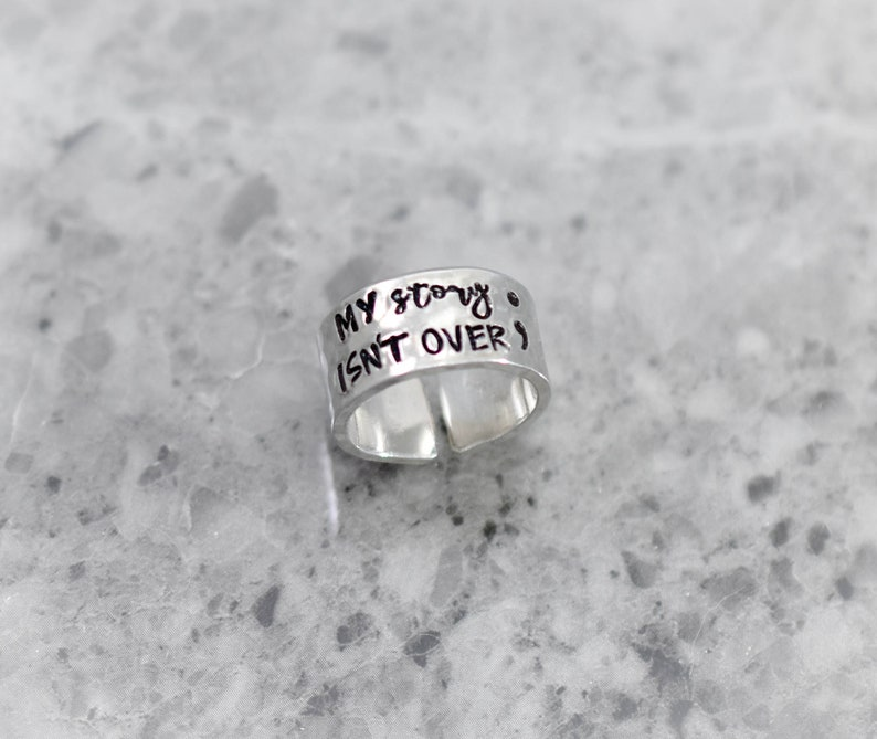 My story isn/'t over yet Semicolon Ring Suicide Awareness Semicolon Jewelry Personalized Ring Adjustable Aluminum Ring Set
