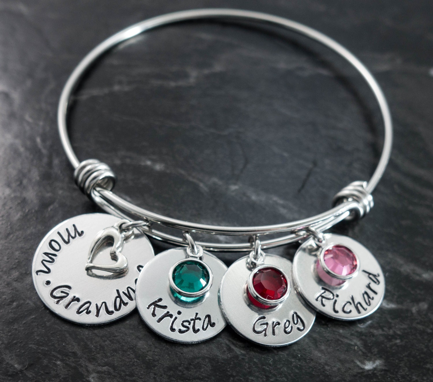 Mothers Charm Bracelet: Charm Bracelet / Wire Bangle / Mother Bracelet / Name