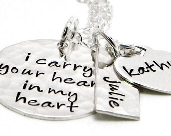 Hand Stamped Necklace - Personalized Sterling Silver  - I Carry Your Heart In My Heart