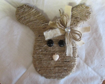Jute wrapped Bunny Head Bowl Filler