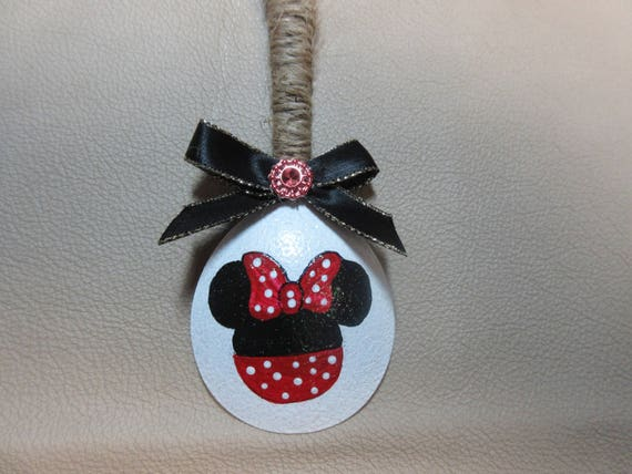 Minnie Mouse Christmas Tree Decorations.Hand Painted Minnie Mouse Spoon Christmas Ornament Family Gift Friends Gift Teachers Gift Disney Personalized Tree Decoration Holiday Decor